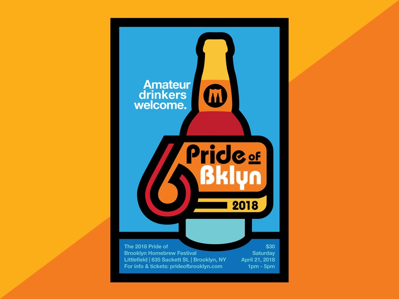 Pride of Brooklyn 2018 Poster new york branding nyc brooklyn retro 80s typography event print beer bottle beer lockup illustration poster