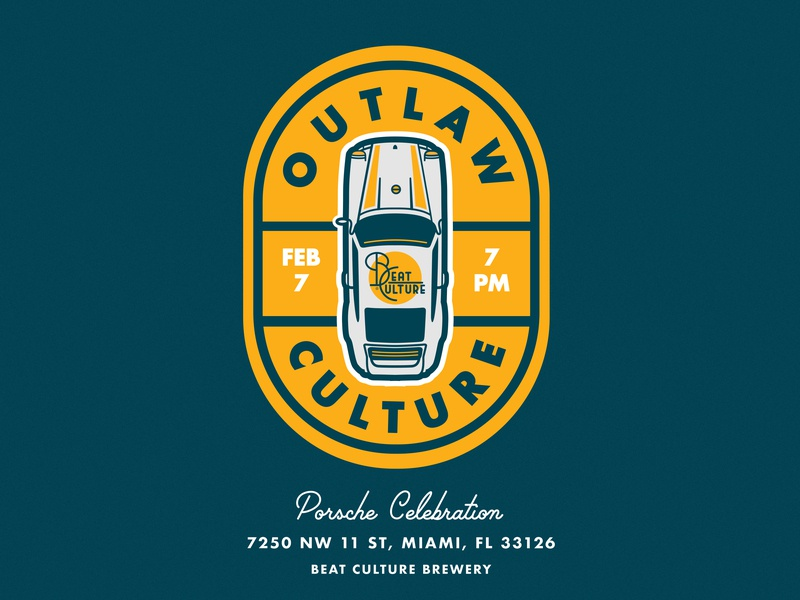 "Beat Culture ""Outlaw Culture"" Porsche Meetup outlaw porsche porsche 911 911 vector icon design illustration brewery patch typography type porsche car auto branding mark lockup logo badge"