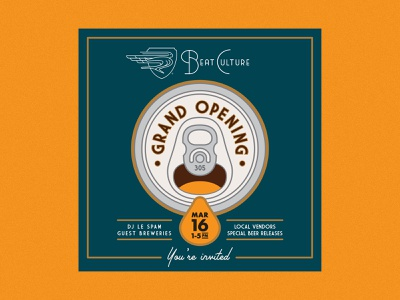 """Beat Culture """"Grand Opening"""" Beer Can Graphic vector design branding brewery typography type lockup mark logo illustration can beer beer can design beer can"""