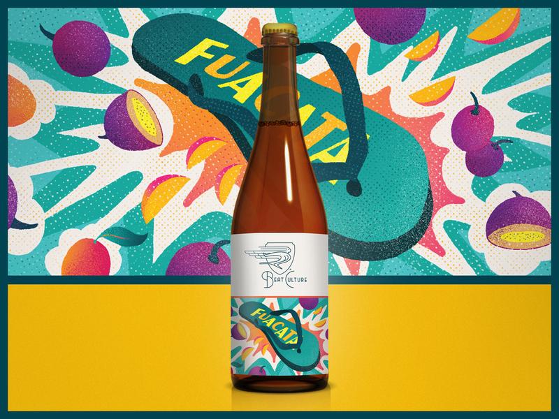 """Beat Culture """"Fuacata""""  Beer Label fruit halftone latinx spanglish cuban bottle design bottle beer bottle beer branding illustration typogaphy label design tropical miami design packaging beer packaging beer label label"""
