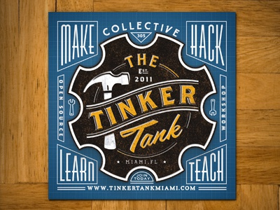 Tinker Tank Sticker type design sticker collateral