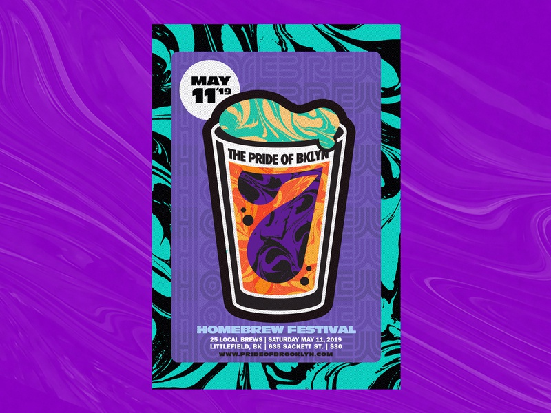 Pride of Brooklyn 2019 Poster #2 marbled lockup craft beer branding poster art homebrew pint glass type illustration 60s trippy brooklyn beer