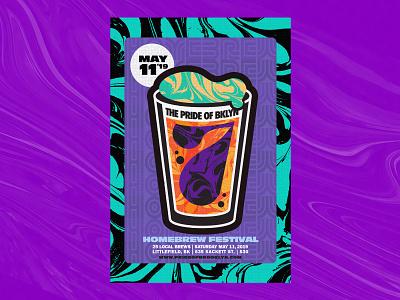 Pride of Brooklyn 2019 Poster #2 marbled lockup craft beer branding poster art homebrew pint glass type illustration 60s trippy brooklyn beer