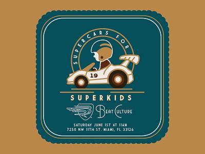 "Beat Culture ""Supercars for Superkids"" Event event badge hunting badge design badge design typography branding illustration racecar kids cars type lockup mark brand logo"