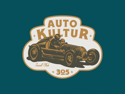 """Auto Kultur"" graphic for Beat Culture miami vintage logotype badge emblem illustration lockup mark logo automotive auto racing cars"
