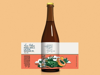 """Beat Culture """"Juice Palace"""" Beer Bottle Packaging ipa papaya truck designs branding beer branding beat culture beat culture design typography illustration bottle art beer label beer package design packaging"""
