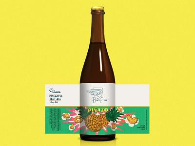 "Beat Culture ""Piñazo"" Beer Bottle Packaging bottle mockup beat culture branding design beer branding bottle art type illustration beer pineapple latino beer label beer design package design packaging"