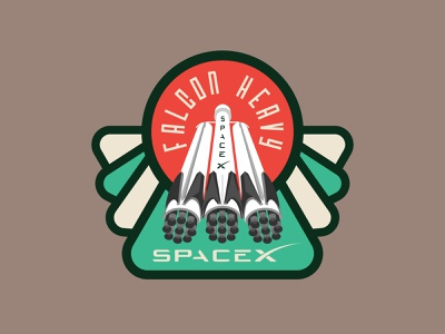 Space Mission Patch: Falcon Heavy illustration logo design logotype branding rocketship spaceship aerospace spacex rocket space patch