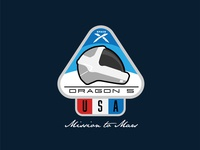 Space Mission Patch: Dragon 5, U.S. Mission to Mars usa illustration helmet design mission patch patch elonmusk spacex dragon