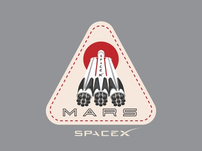 Space Mission Patch: Mission Mars mark branding logo illustration design space falcon heavy spaceship