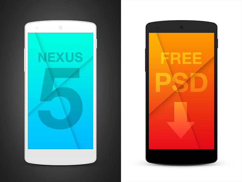 Nexus5 PSD Templates nexus5 android template mockup free freebie psd phone mobile