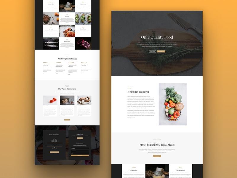 Restaurant website layout teaser by elegant themes