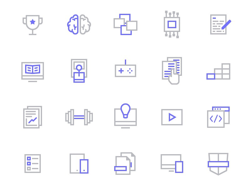 Free Icon Set for Coding & Education web coding tech iconography education line icon