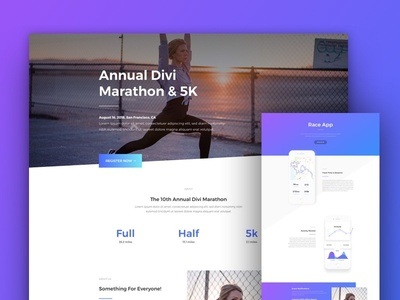 Running Event Website Template For Divi By Elegant Themes Dribbble - Event website template