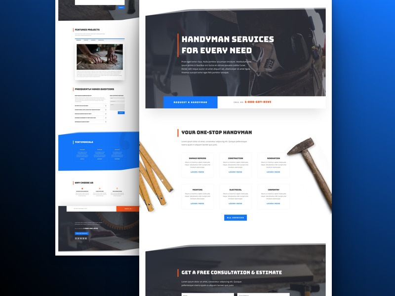 Handyman Website Template - Sneak Peak wordpress website template construction handyman layout landing divi