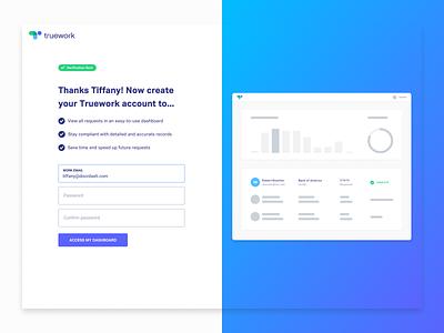 Truework Post Verification Registration interface conversion messaging illustration product design web