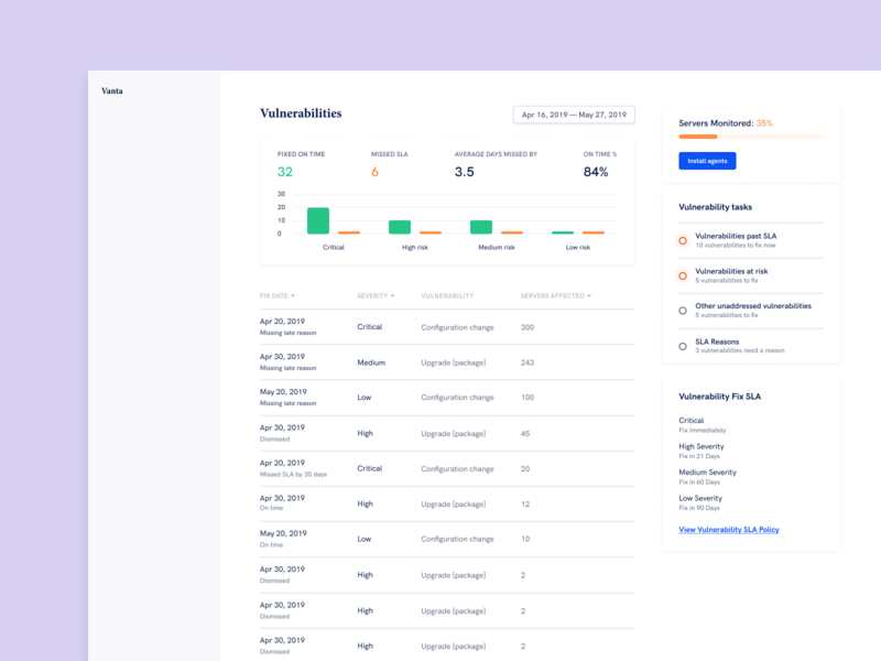 Vanta Vulnerabilities Page soc2 interface product design web