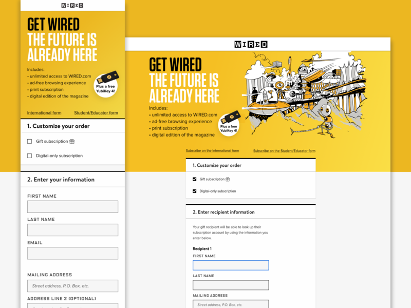 Subscription Signup for WIRED interface checkbox input box type illustration form design check out repsonsive mobile plans web ux signup subscription product design