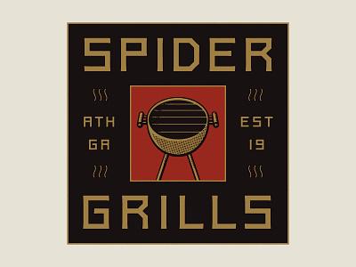 Spider Grills illustration custom lettering logo