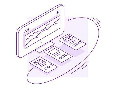 Prototyping illustration purple prototyping design ui tutorial icon app prototype icon