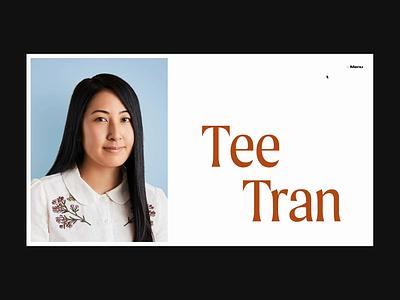Tee Tran – Menu click interaction animation menu website typography portfolio creative development