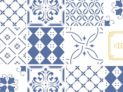Tile Exploration blue delft kansas city illustration tile