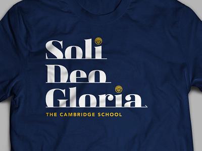 Soli Deo Gloria Shirt merch typography bold serif crest latin navy cambridge shirt soli deo gloria