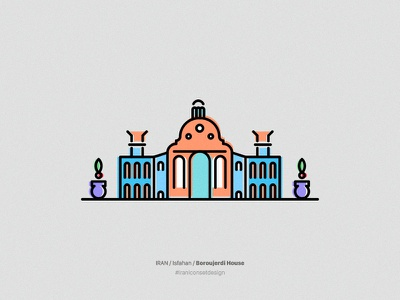 Boroujerdi House icon illustration city persian iran isfahan