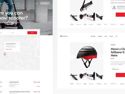 Moovi Subpages shop homepage simple landing page ecommerce web ui ux scooter e-scooter german moovi