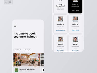 Squire - Booking app squire hiring haircut booking appointment book uxui mobile design mobile design smooth business barbers barbershop barber animation application app ux ui