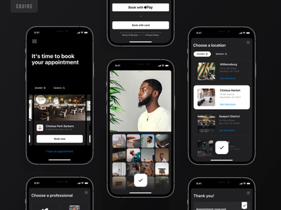 Squire - Booking app dark mode motion ui ux app application animation barber barbershop barbers business dark dark mode design mobile uxui appointment booking haircut hiring squire