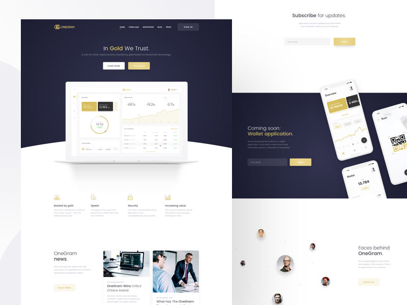 OneGram - Landing page white ux ui simple onegram landing page landing gradient gold fintech dark cryptocurrency