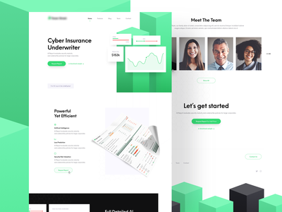 Cyber Insurance Report - Landing Page shapes homepage landing page landing report ux ui simple white 3d green web ai