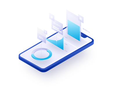 Mobile Bank - Isometric hero illustration mockup chart graph bank wallet gradient simple blue iphone mobile illustration isometric