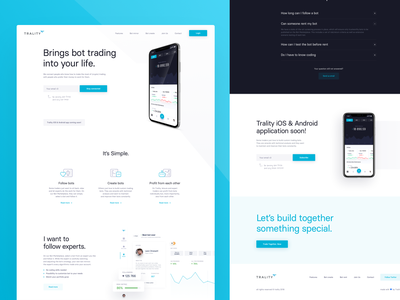 Trality is live! ux ui simple white blue homepage landing page landing crypto cryptocurrency crypto trading web