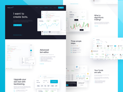 Trality is live! web crypto trading cryptocurrency crypto landing landing page homepage blue white simple ui ux