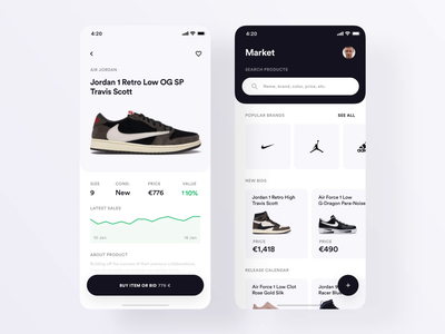 Shoes-market App white black hypebeast sell buy market shoes simple animation app ux ui
