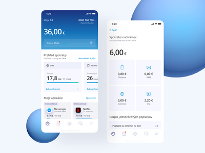 o2 application is live! simple ios ui ux white gradient blue mobile operator application app o2