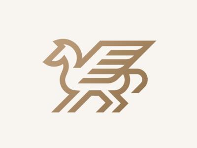 Pegasus logodesigner modern minimalism design minimal clean logomark abstract geometric logo