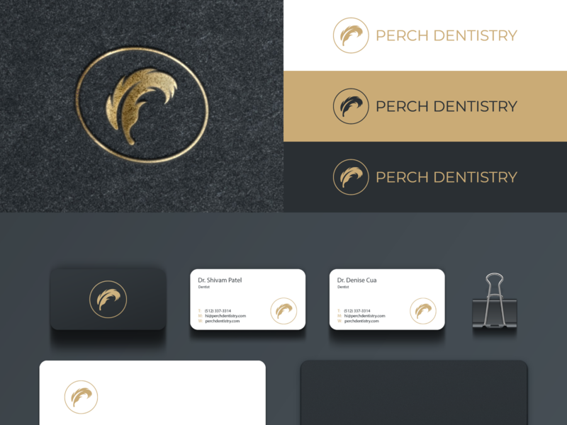 Perch Dentistry logodesigner modern minimalism design minimal clean logomark abstract geometric logo