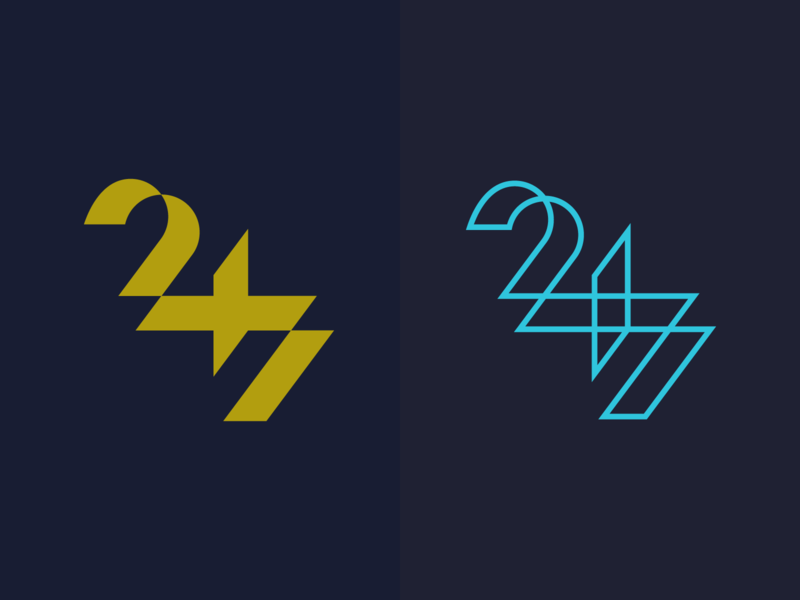 24/7 concept lettermark minimalism design minimal clean logomark abstract geometric logo