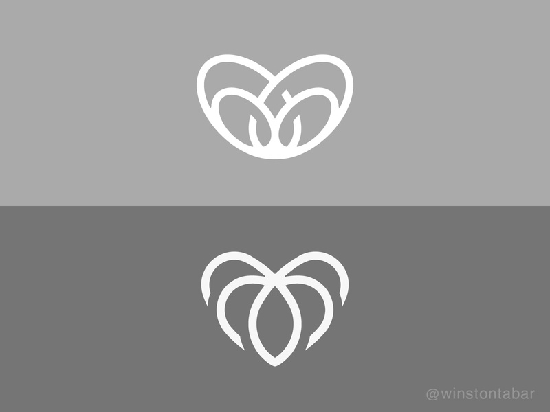 Heart icons logodesigner modern minimalism design minimal clean logomark abstract geometric logo