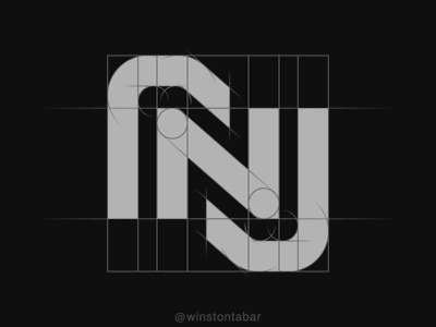 rnj monogram logodesigner modern minimalism design minimal clean logomark abstract geometric logo