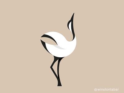 White crane bird logodesigner modern minimalism design minimal clean logomark abstract geometric logo
