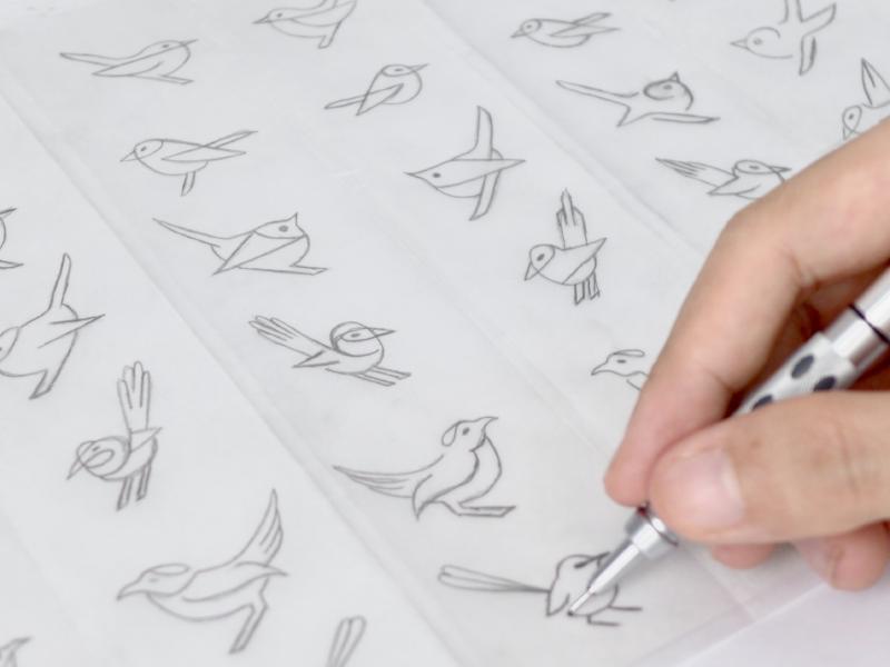 Fairywrens illustration sketch modern clean abstract monoline geometric wrens fairywrens bird logo logomark