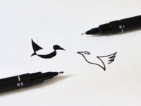 Negative space vs monoline birds