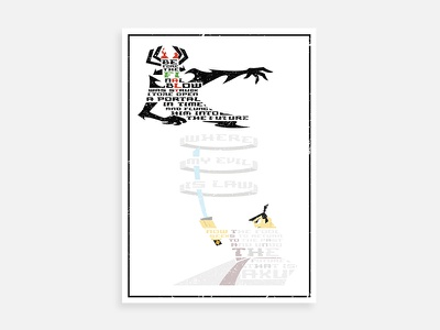 Samurai Jack Triptych - Battle  cartoon graphic aku jack samurai typography poster lettering design art