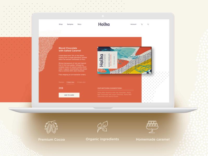 Holka Chocolate design ecommence grid responsive design webflow design webdesign chocolate packagedesign branding illustration