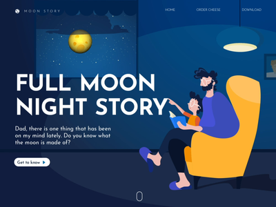 🌕 Full Moon Night Story teamwork storytelling story night sky flow character animation vector design illustration
