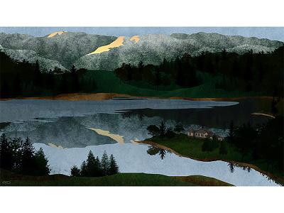 Based on a true story. photoshop cutout digital britain house lake nature landscape illustration design